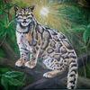 Nebelparder, Acrylmalerei, Blätter, Katze