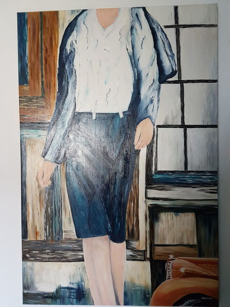 Menschen, Malerei, Figur, Blau