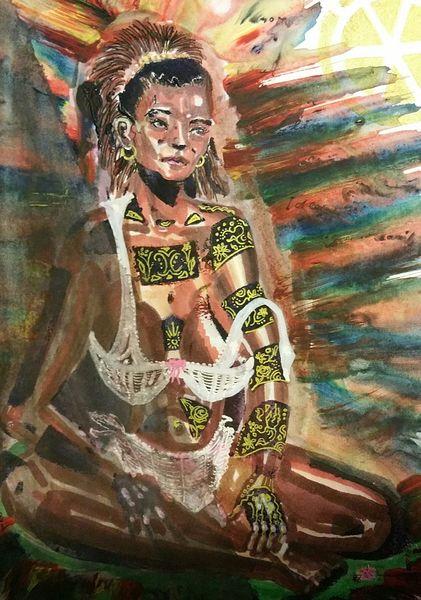 Person, Nude exotic, Farben, Figur, Menschen, Malerei