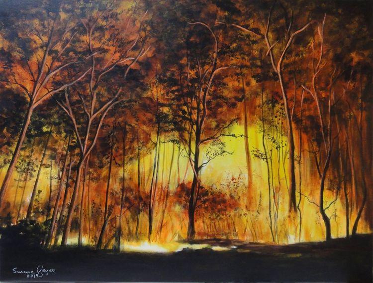 Waldbrand, Waldsterben, Forest fire, Natur, Acrylmalerei, Malerei