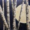 Acrylmalerei, Malerei, Birken, Leuchtfarbe