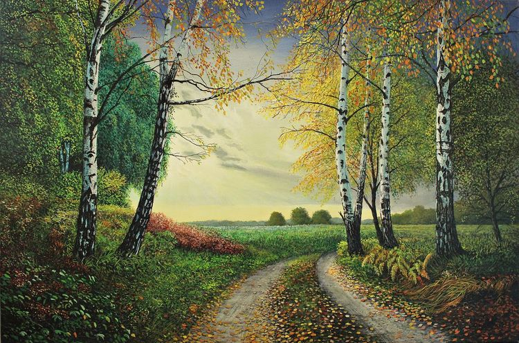Herbst, Acrylmalerei, Landschaft, Malerei