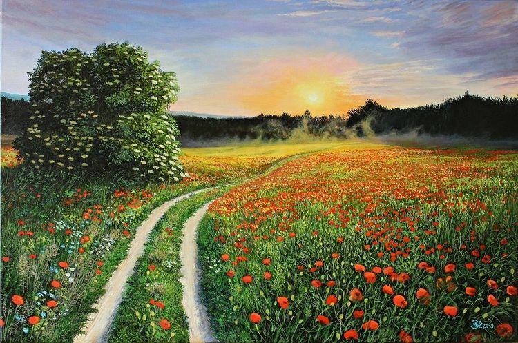 Mohnfeld, Sonnenuntergang, Acrylmalerei, Malerei