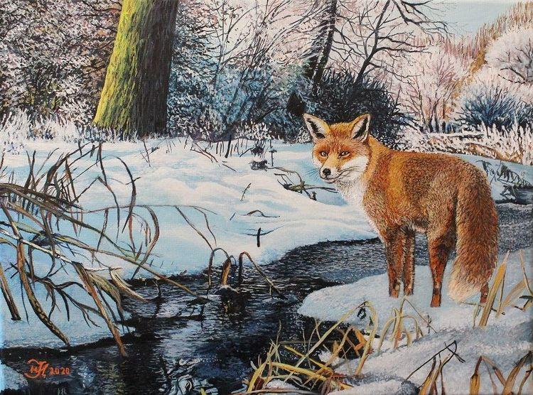 Acrylmalerei, Fuchs, Winter, Malerei