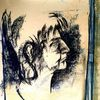 Böse, Zeitungshalter, Pastellmalerei, Malerei