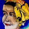 Lächeln, Gelb, Kopftuch, Pastellmalerei