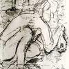 Kauernd, Pastelkreide auf papier, Lager, Zeichnungen
