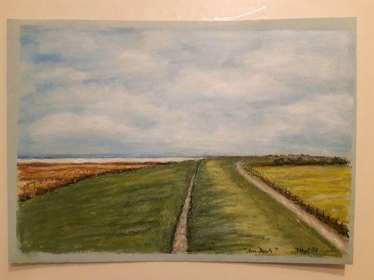 Langeoog, Winter, Pastellmalerei, Seedeich, Salzwiese, Malerei