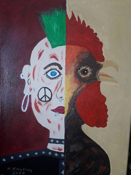 Pinker, Punker, Hahn, Zwei gesichter, Malerei, Vogel