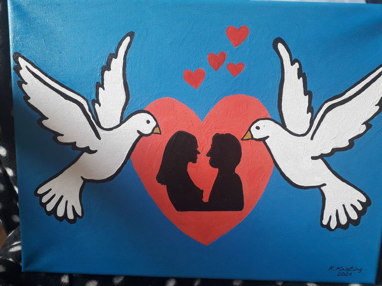 Liebespaar, Herz, Zwei tauben, Malerei, Liebe
