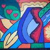 Bunt, Frau, Herz, Malerei