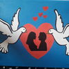 Zwei tauben, Liebespaar, Herz, Malerei
