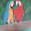 Vogel, Holzast, Bunt, Malerei