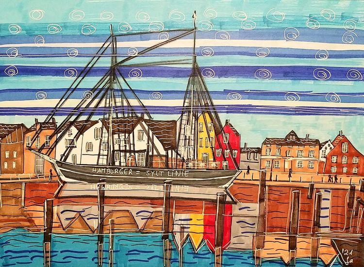 Hamburger syltlinie, Hörnumer hafen, Wasserspiegelungen, Frachtschiff, Nordsee, Malerei