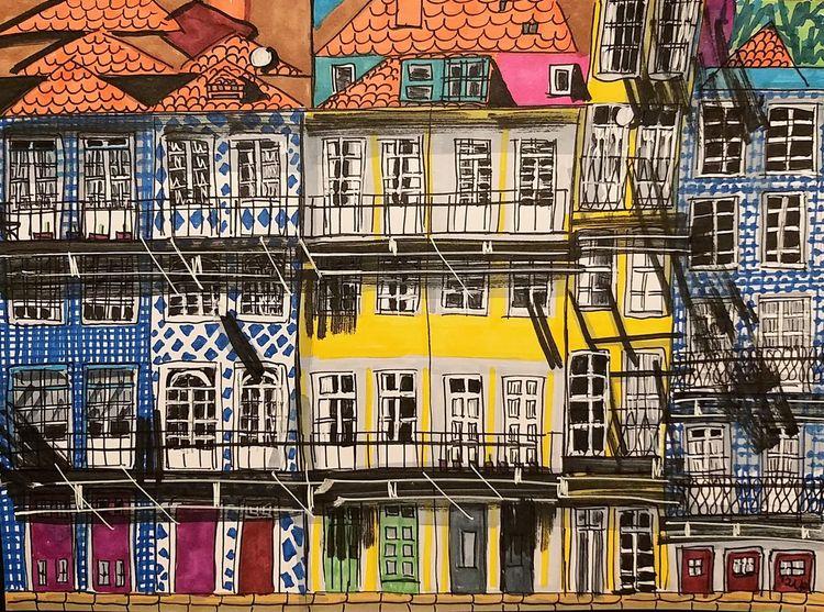 Portoalto, Fenster, Häuser, Häuserfassade, Dach, Altstadt