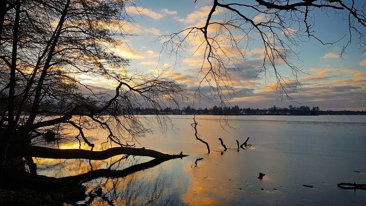 Sonnenuntergang, Wasser, Schmöckwitz, Ufer, Landschaft, See