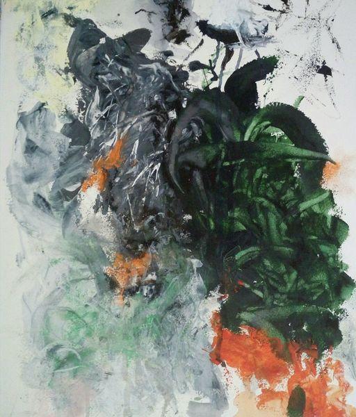 Grün, Ausbruch, Orange, Malerei