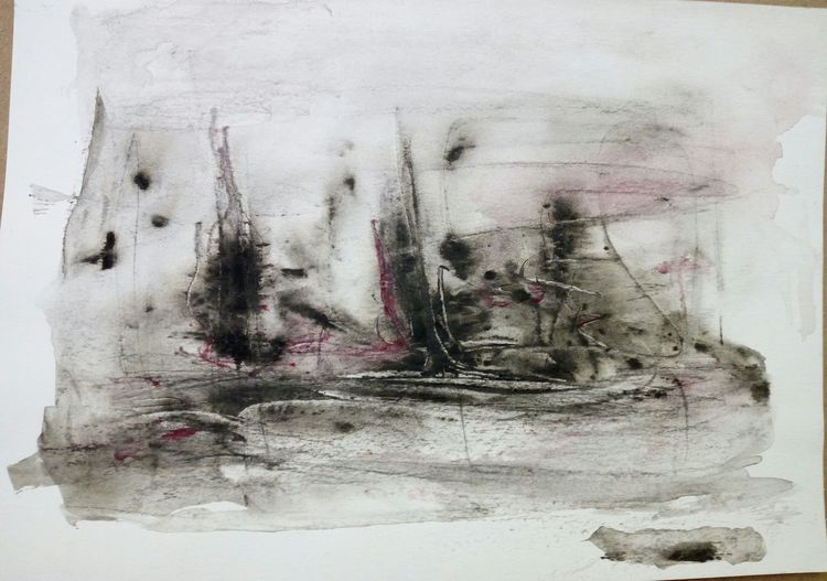 Verlassen, Landschaft, Braun, Malerei