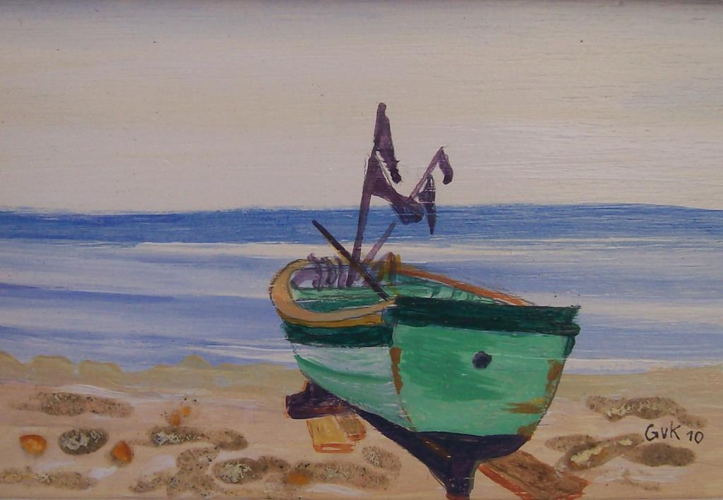Bild - Meer, Boot, Ostsee, Strand von Gabriele van Kempen bei KunstNet