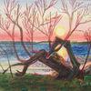 Sonne, Wasser, Baum, Malerei