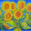 Gelb, Sonnenblumen, Grün, Blau
