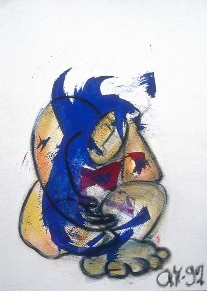 Expressionismus, Pastellmalerei, Kohlezeichnung, Träumer, Acrylmalerei, Malen