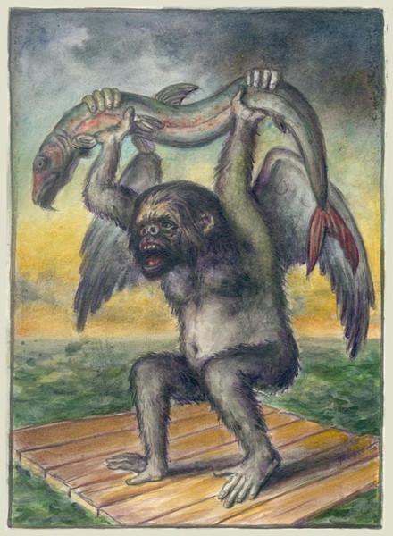 Schiffbruch, Affe, Tiere, Alegorie, Wasser, Figur
