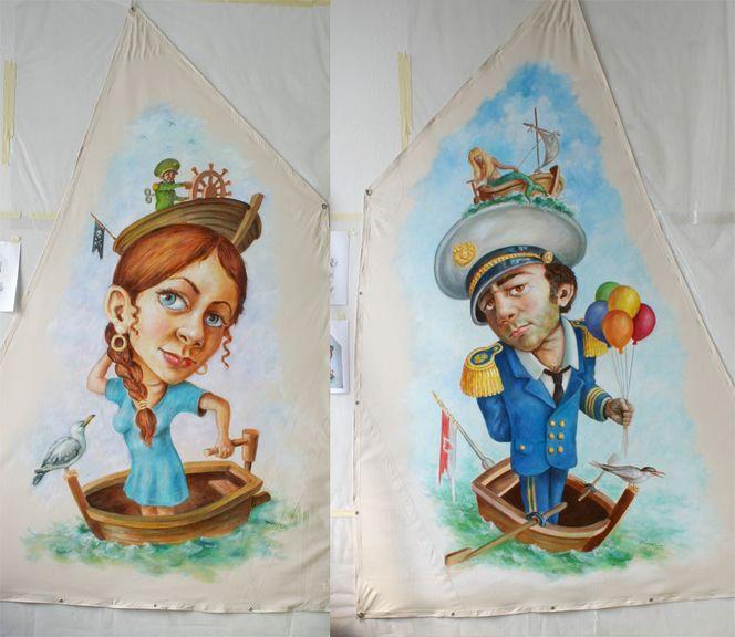 Klischee, Bootmann, Bootfrau2, Menschen, Malerei, Kapitän