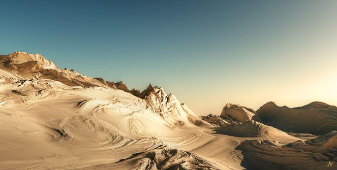 Wüste, Digital, Blau, Landschaft, Sonnenuntergang, Ocker