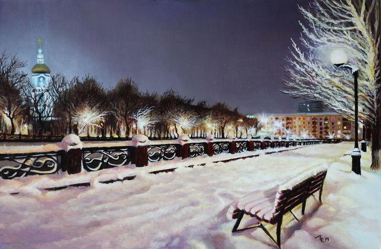 Licht, Stadt, Straße, Abend, Winter, Schnee