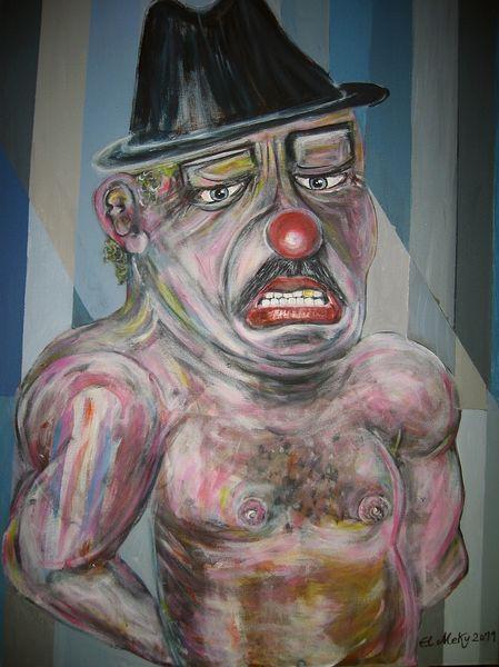 Portrait, Berlin, Acrylmalerei, Clown, Malerei, Mafia