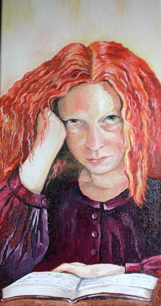 Mädchen, Buch, Rot, Haare, Malerei, Mosaik
