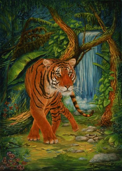 Tierportrait, Fluss, Katze, Pflanzen, Tiere, See