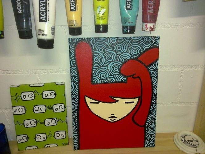 Blau edding, Acrylmalerei, Rot, Hase, Malerei, Tiere