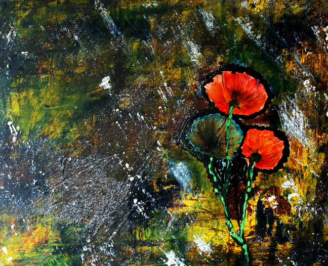 Acrylmalerei, Malerei, Mischtechnik, Ölmalerei, Abstrakt, Mohnblumen