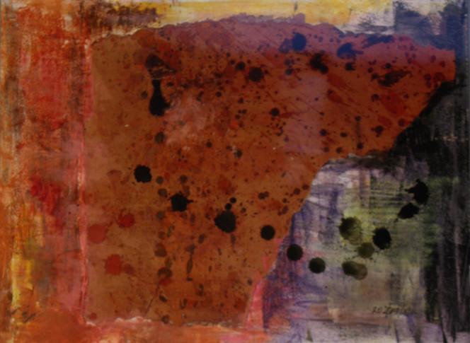 Mischtechnik, Abstrakt, Kreide, Collage, Tusche, Malerei