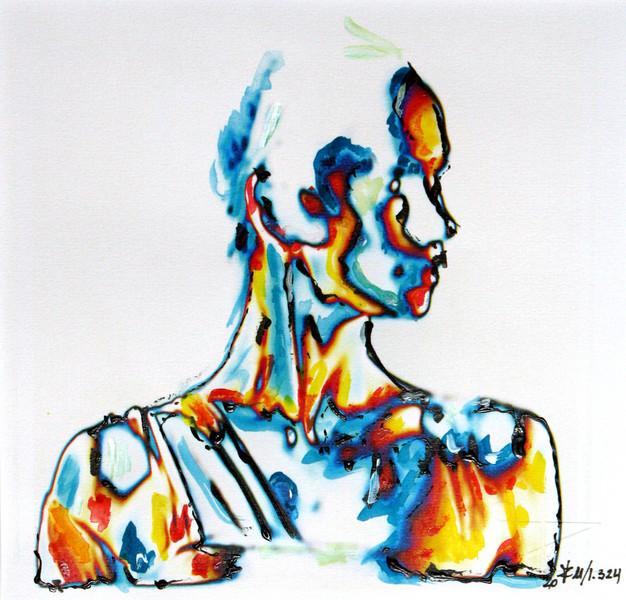 Malerei, Abstrakt, Acrylmalerei, Tusche, Kreide