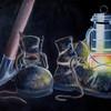 Rettung bergleute capiapo minenunglück, Spitzhacke petroleumlampe alte schuhe, Grubenunglück chile bergleute, Malerei