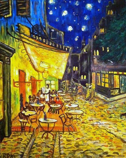 Nachtcafé, Licht, Nacht, Straße, Menschen, Stern