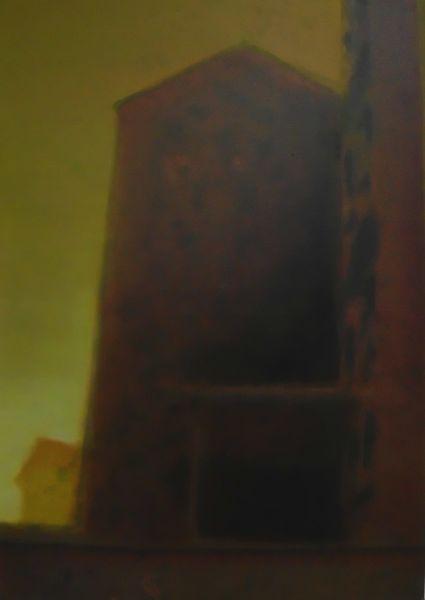 Ocker, Düster, Haus, Rot, Dunkel, Malerei