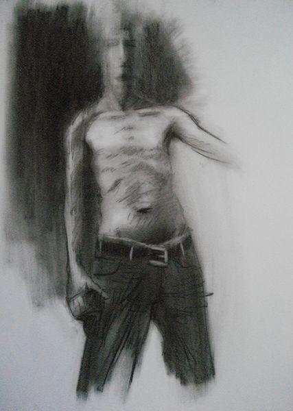 Figur, Männlich, Oberkörper, Schwarz weiß, Druckgrafik