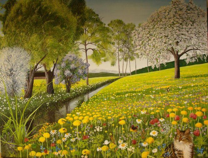 Gemälde, Acrylmalerei, Schmetterling, Wiese, Weide, Frühlingsgefühle