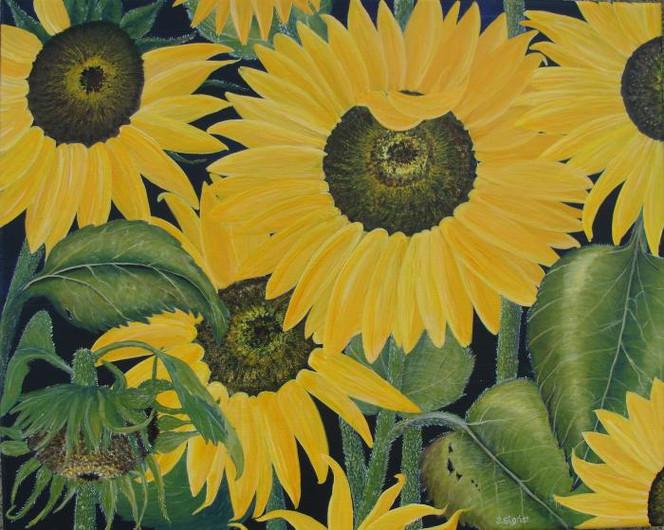 Sommer, Gemälde, Sonnenblumen, Gelb, Schweiz, Acrylmalerei
