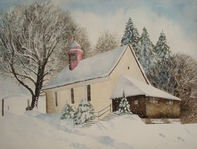 Aquarellmalerei, Malters, Hiver, Heirat, Schnee, Malerei