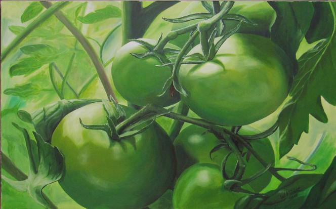 Grün, Nahrung, Tomate, Fotorealismus, Malerei, Stillleben