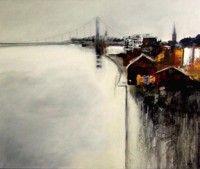 Mühlheimerbrücke, Flut, Köln, Überschwemmung, Malerei