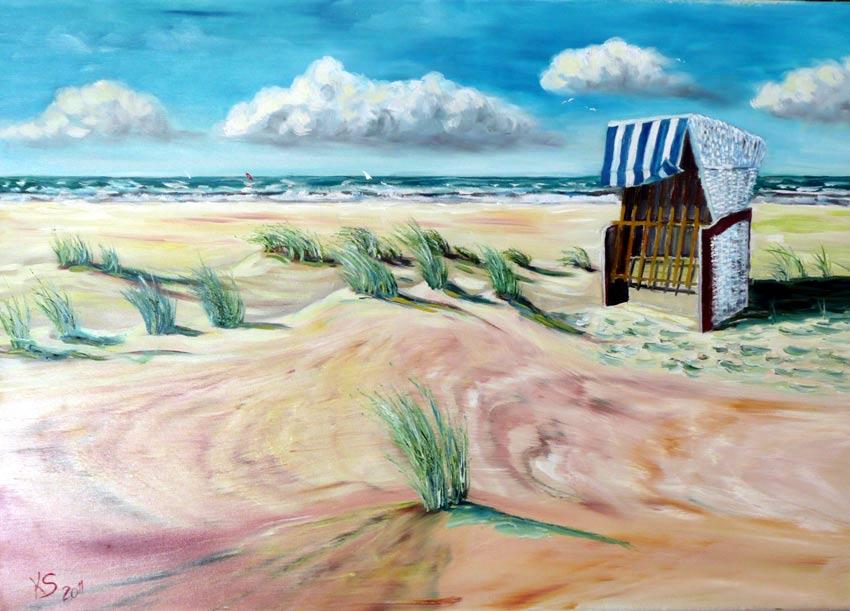 Strandkorb gemalt  Bild: Strandkorb, Ostsee, Strand, Malerei von Klaus Seidel bei ...