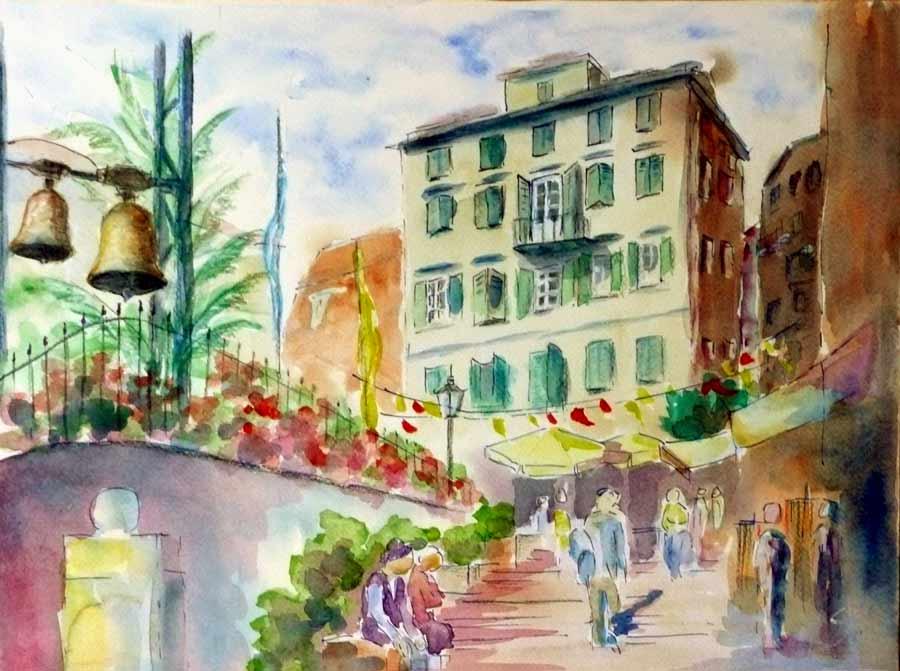 Bild aquarell architektur stadt von klaus seidel bei for Architektur aquarell
