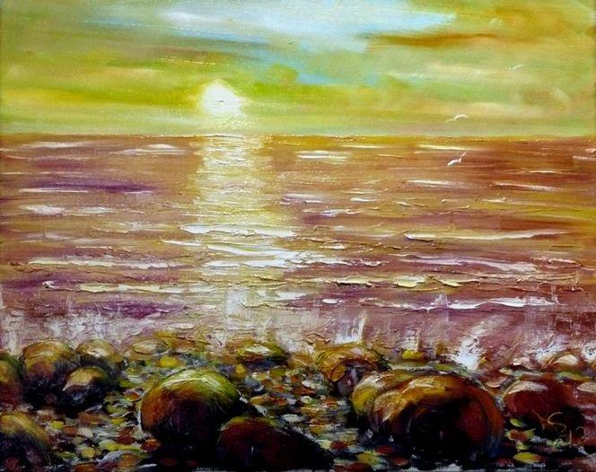 Sonnenuntergang, Steilküste, Rügen, Ostsee, Malerei, Meine bilder