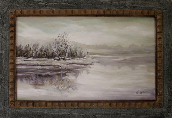 Baum, Weiß, Spiegel, Grau, Winter, See